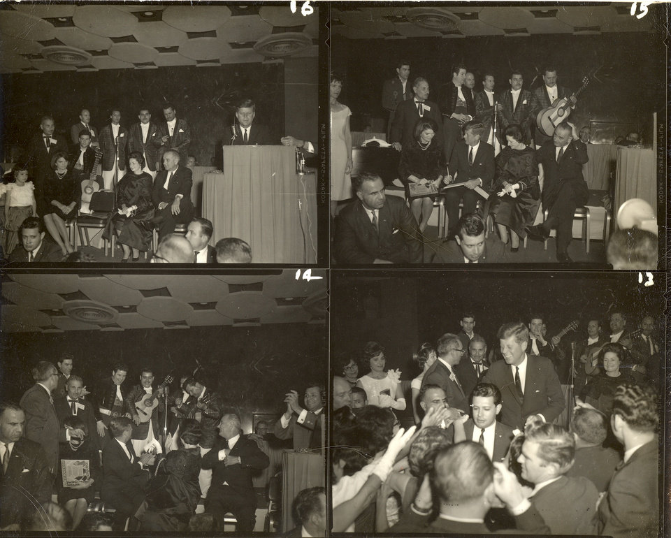 Photo -   This four picture combo, provided by Alexander Arroyos, taken Nov. 21, 1963, shows President John F. Kennedy and first lady Jacqueline Kennedy greeting Latino activists at a LULAC gala in Houston's Rice Hotel. Historians say Kennedy's appearance at the Rice Ballroom _ 49 years ago this week and the night before his assassination _ was likely the first time a U.S. president officially acknowledged Latinos as an important voting block. (AP Photo/Courtesy of Alexander Arroyos)