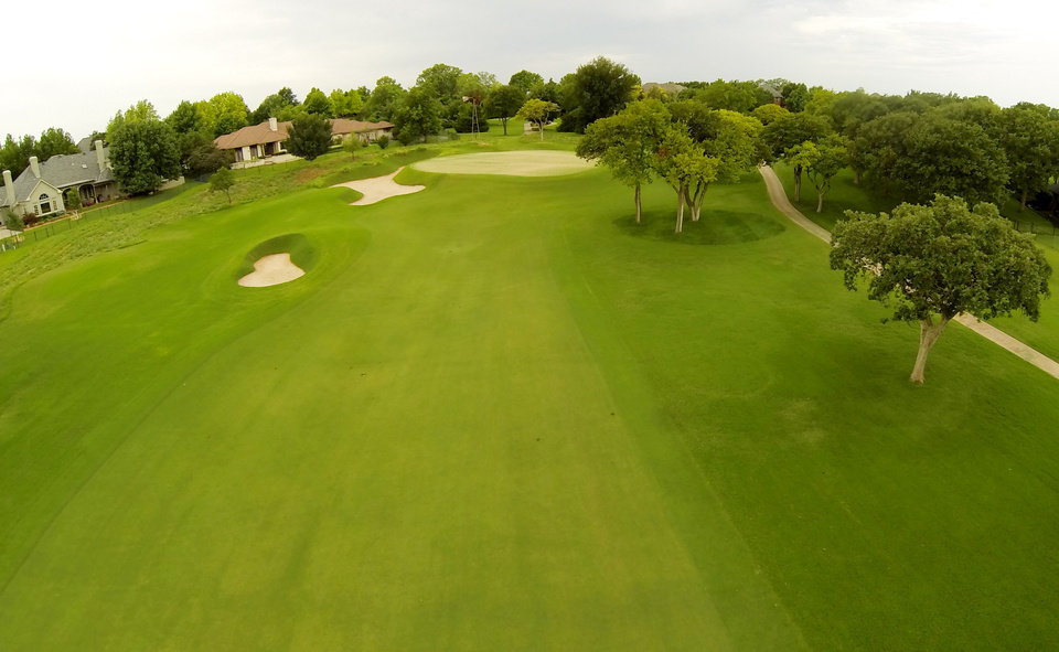 Photo - 2nd green. Aerials of Oak Tree National course in Edmond, site of the 2014 U.S. Senior Open, Tuesday, July 1, 2014. Photo by Carl Shortt, Jr., for The Oklahoman