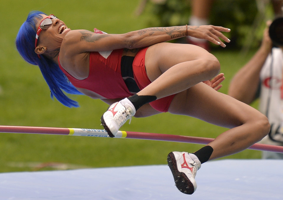 United States' Inika Mcpherson competes in a women's high jump qualification at the World Athletics Championships in the Luzhniki stadium in Moscow, Russia, Thursday, Aug. 15, 2013. (AP Photo/Martin Meissner)