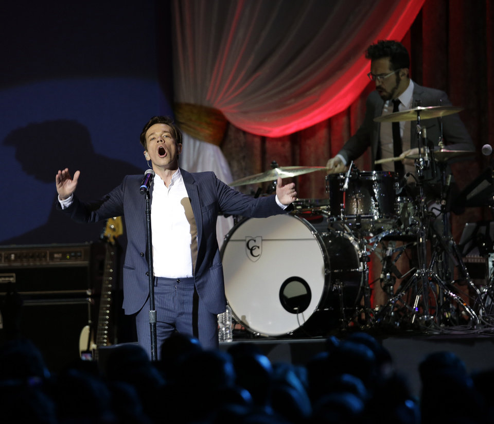 Photo - Fun performs during The Inaugural Ball at the Washignton convention center during the 57th Presidential Inauguration in Washington, Monday, Jan. 21, 2013. (AP Photo/Paul Sancya)