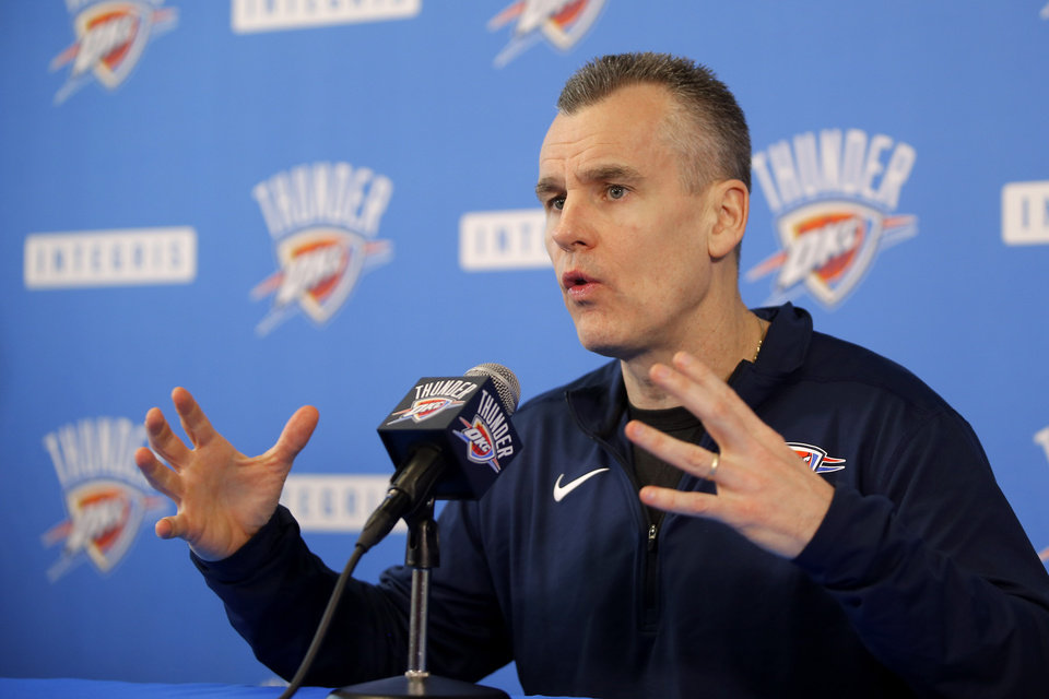 Photo - Oklahoma City Thunder coach Billy Donovan peaks to the media during exit interviews for the Oklahoma City Thunder at the Integris Thunder Development Center in Oklahoma City, Okla., Saturday, April 28, 2018. Photo by Bryan Terry, The Oklahoman
