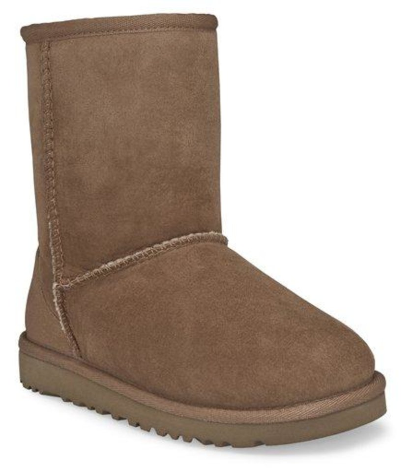 "This undated image provided by Ugg, shows a Classic Short Ugg boot in Chestnut color. A closet full of beautiful boots and gravity-defying heels, flat-foot, furry Uggs weren't at the top of celebrity stylist-designer Rachel Zoe's shopping list. But""Once you put them on, you can't go back,"" Zoe says. ""In my house, it's now the family at-home shoe. I wear them all the time. My son has 10 pairs and my husband has 10 pairs."" (AP Photo/Ugg)"