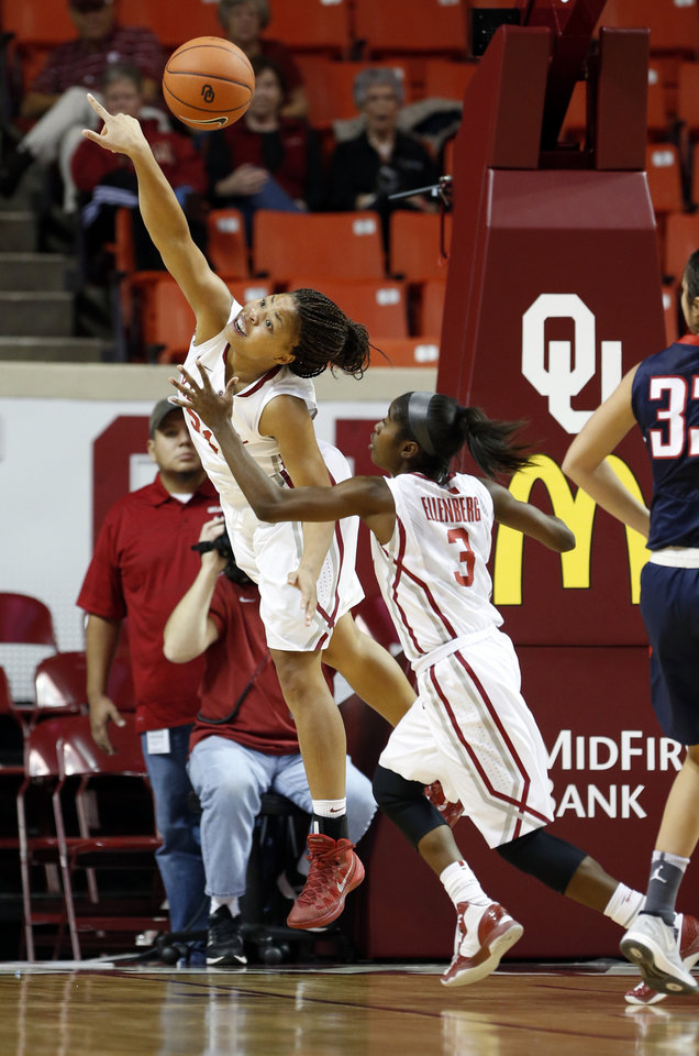 Photo - Oklahoma Sooner's Portia Durrett (31) tips a rebound to Aaryn Ellenberg (3) in the second half as the University of Oklahoma Sooners (OU) defeat the Gonzaga Bulldogs 82-78 in NCAA, women's college basketball at The Lloyd Noble Center on Thursday, Nov. 14, 2013  in Norman, Okla. Photo by Steve Sisney, The Oklahoman