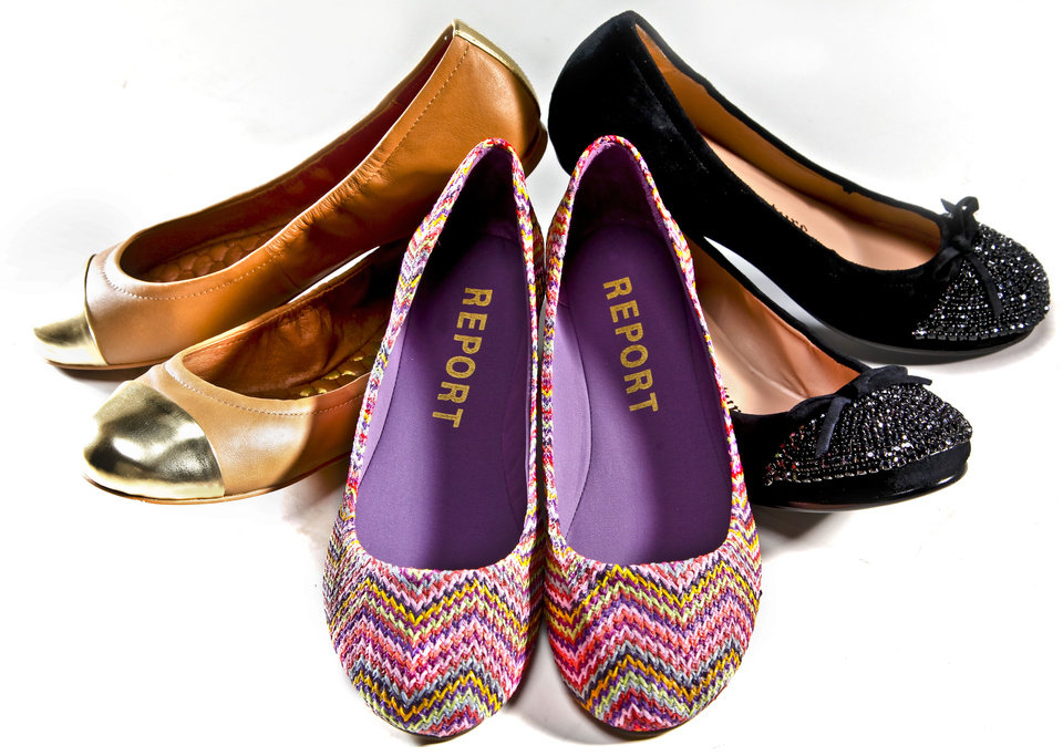 From left: metal cap-toe ballet flats by Sam Edelman in camel and gold, sold at Pink Sugar. Report ballet flats with a chevron multicolor print, sold at Funky Monkey. Black ballet flats with sequined cap toe by Juicy Couture, sold at Funky Monkey. Photo by Chris Landsberger, The Oklahoman. <strong>CHRIS LANDSBERGER</strong>