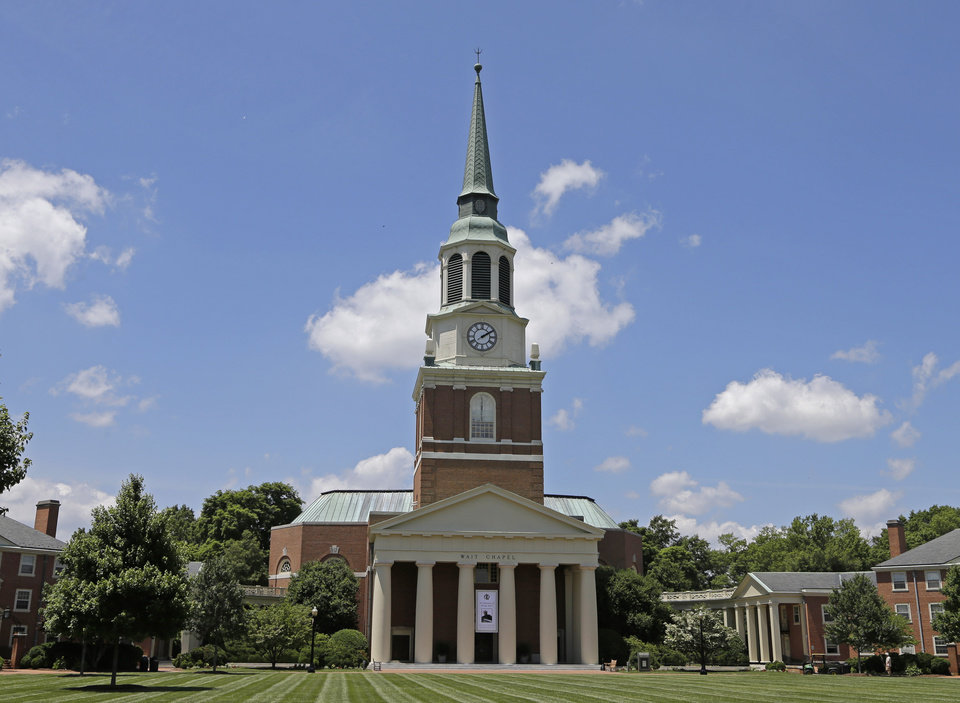 Photo - Wait Chapel is shown at Wake Forest University in Winston-Salem, N.C., Friday, June 6, 2014.  Former President Bill Clinton and Oprah Winfrey are joining First Lady Michelle Obama at a weekend memorial service for poet and author Maya Angelou at Wait Chapel. (AP Photo/Chuck Burton)