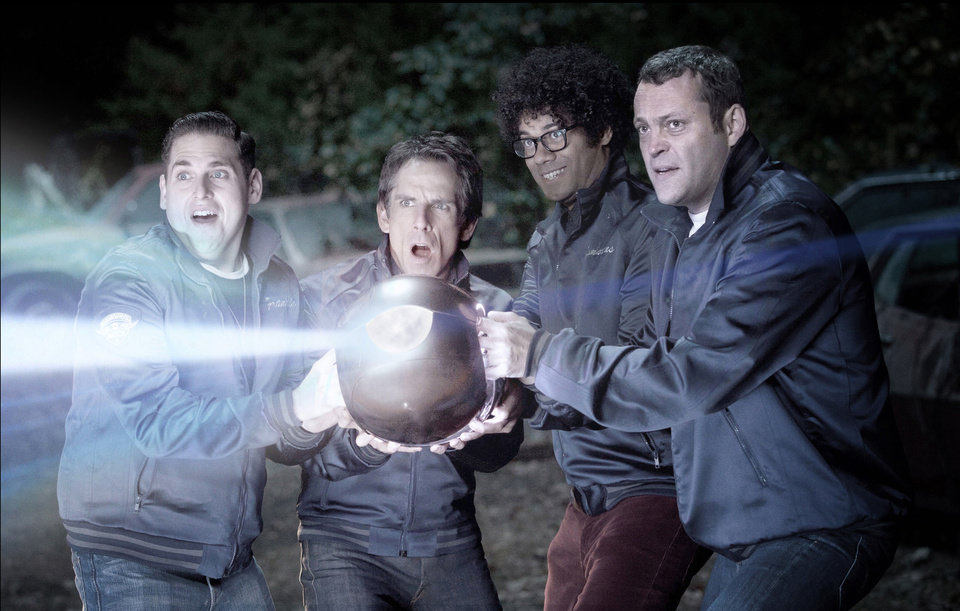 In this image released by 20th Century Fox, from left, Jonah Hill, Ben Stiller, Richard Ayoade and Vince Vaughn are shown in a scene from �The Watch.� Fox says the name of the film starring Ben Stiller and Vince Vaughn as suburban neighborhood watch volunteers who battle aliens was changed from �Neighborhood Watch� to just �The Watch,� in light of the shooting of an unarmed black teenager in Florida. (AP Photo/20th Century Fox, Melinda Sue Gordon)