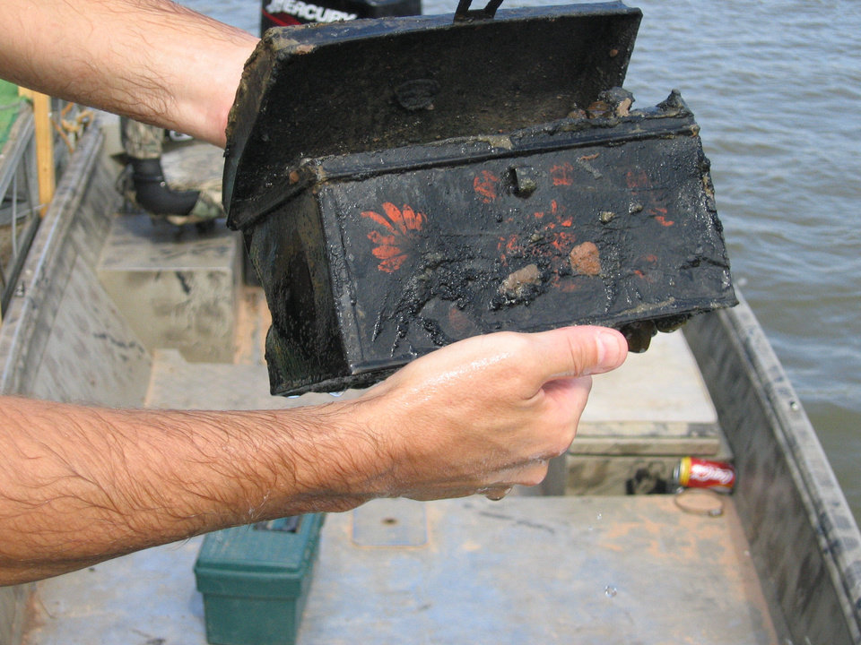 Photo - This tin box came from an excavation of the Steamboat Heroine from the Red River in conjunction with the Institute for National Archaeology at Texas A&M University, which works with the Oklahoma Historical Society. PHOTO PROVIDED