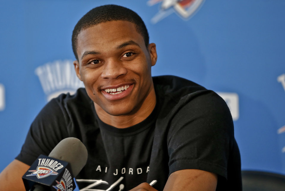 Oklahoma City Thunder's Russell Westbrook speaks to the media on Thursday, May 9, 2013 in Oklahoma City, Okla. for the first time about his season-ending knee injury sustained in a first round NBA basketball playoff game against Houston.  Photo by Chris Landsberger, The Oklahoman