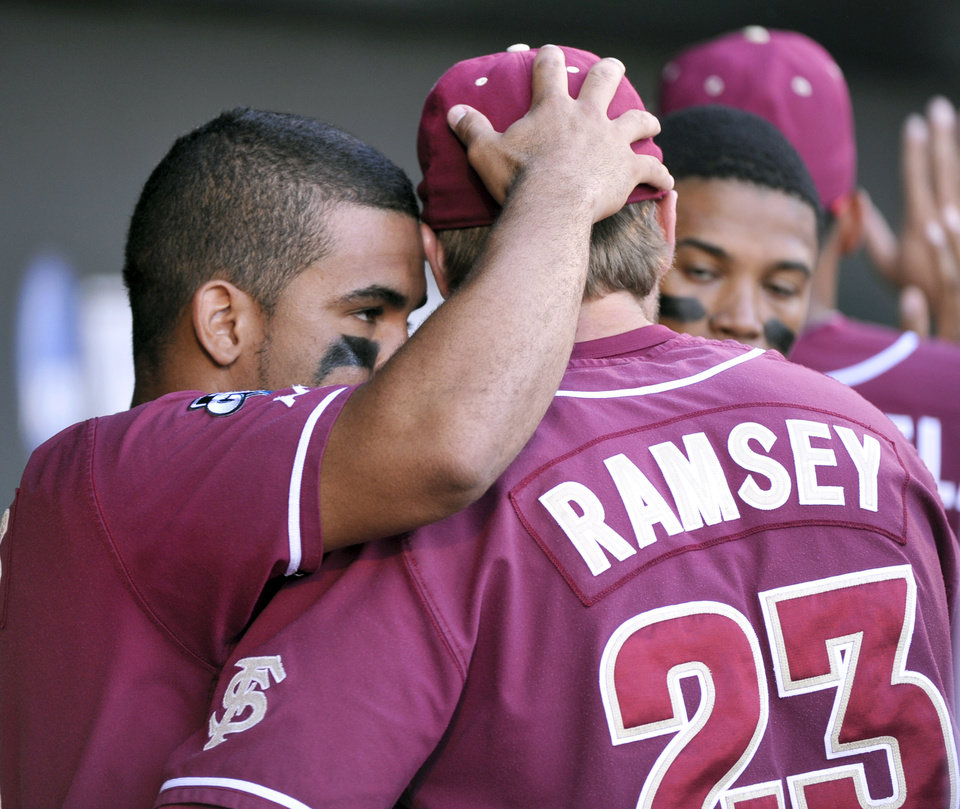 Photo -   Florida State's Devon Travis, left, and James Ramsey hug in the dugout during the ninth inning of an NCAA College World Series baseball game against Arizona, Thursday, June 21, 2012, in Omaha, Neb. Arizona beat Florida State 10-3. (AP Photo/Ted Kirk)