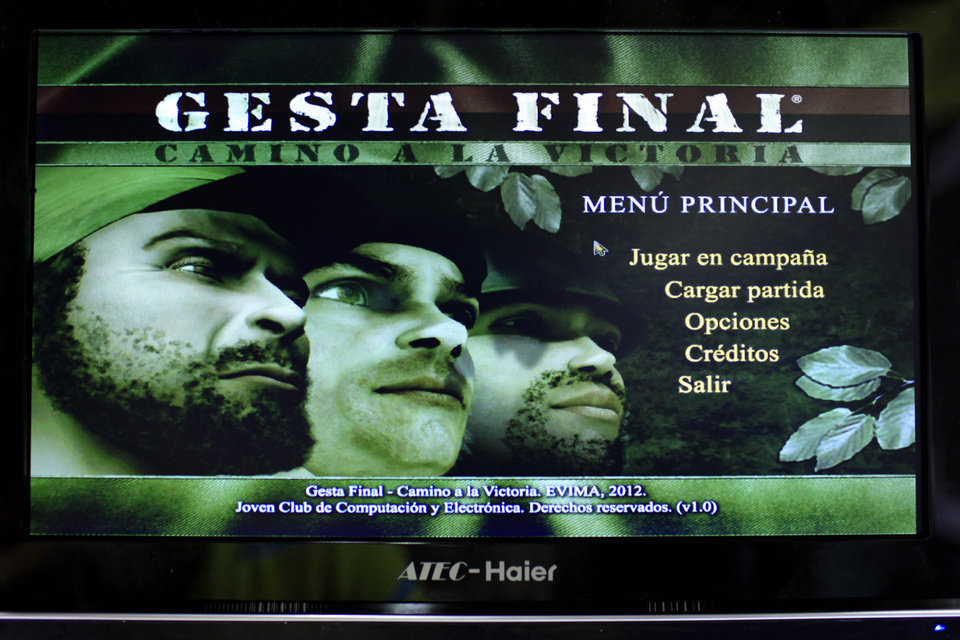 "This March 22, 2013 photo, shows a video screen displaying the menu page for the game ""Gesta Final"" - which translates roughly as ""Final Heroic Deed,"" at a technology fair in Havana, Cuba. Island programmers have unveiled the brand new 3-D shoot-'em-up video game that puts a distinctly Cuban twist on gaming, letting players recreate decisive clashes from the 1959 revolution and giving youngsters a taste of the uprising in which many of their grandparents fought.(AP Photo/Franklin Reyes)"