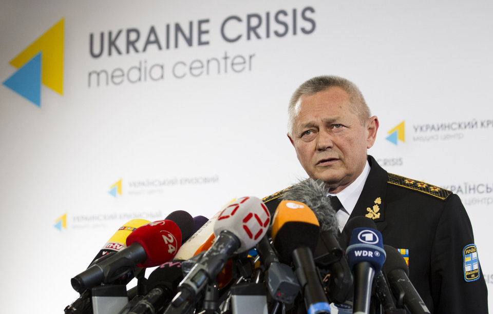 Photo - Ukrainian Defence Minister Ihor Tenyukh speaks during a news conference at a hotel in Kiev, Ukraine, Monday, March 17, 2014.  Ukraine's defence minister said on Monday that his country is
