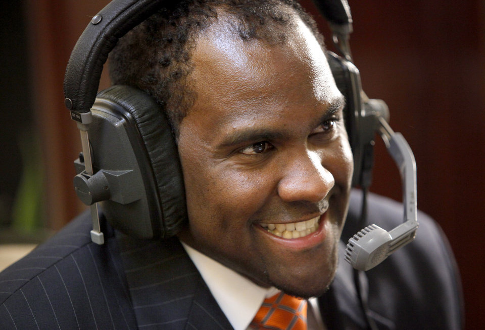 Oklahoma State University\'s Jason Jones laughs during a radio interview for the Big 12 Conference Football Media Days in Irving, Texas, Monday, July 27, 2009. Photo by Bryan Terry, The Oklahoman
