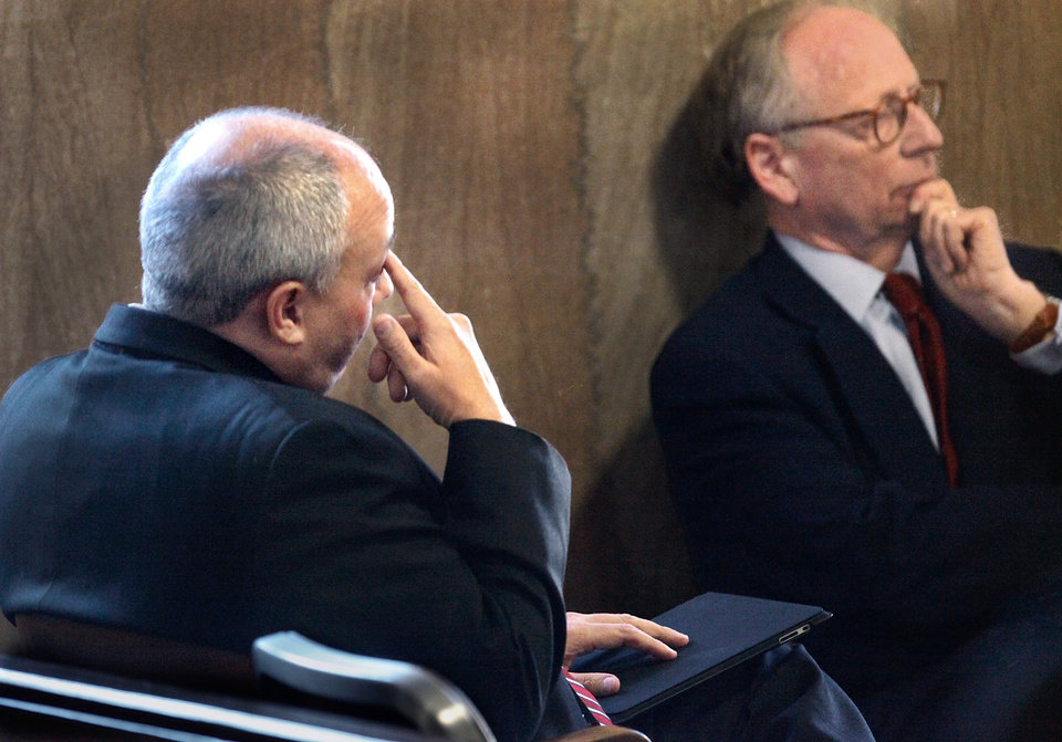 State Rep. Randy Terrill, left,  sits with his attorney, Stephen Jones,  waiting to appear Monday afternoon, Jan. 3, 2011, before Special Judge  Russell Hall in an Oklahoma County courtrooom to enter a plea on bribery charges.  Photo by Jim Beckel, The Oklahoman