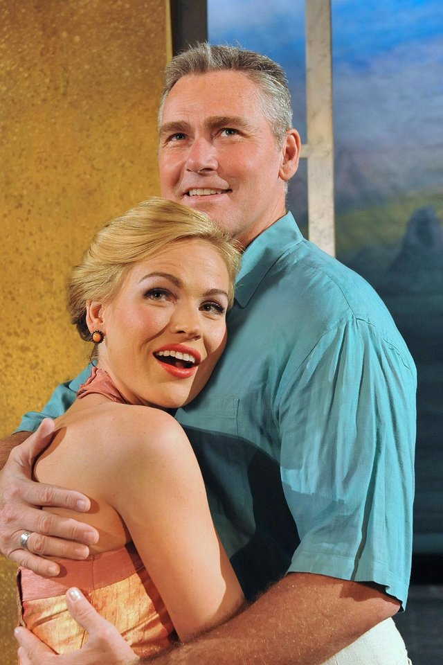 "Photo -  Christopher Carl and Tiffan Borelli star as Emile de Becque and Nellie Forbush in ""South Pacific."" Photo by Wendy Mutz   WENDYMUTZ"