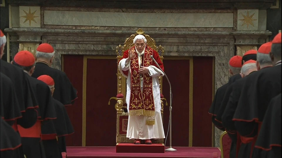 In this image taken from video as Pope Benedict XVI deliveres his final greetings to the assembly of cardinals at the Vatican Thursday Feb. 28, 2013, before he retires in just a few hours. Benedict urged the cardinals to work in unity and promised his