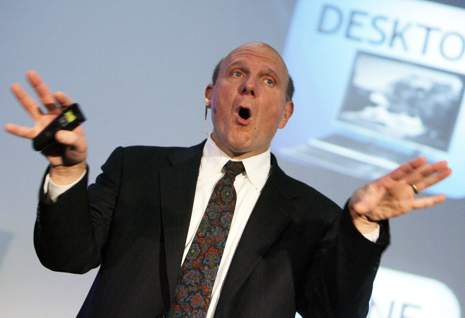 Photo -   FILE- In this Thursday, Oct. 4, 2012, File photo, Steve Ballmer, CEO Microsoft, speaks about the