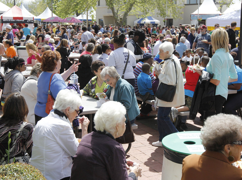 The food court was filled with a large lunch crowd during the Festival of the Arts in downtown Oklahoma City, OK, Thursday, April 25, 2013,  By Paul Hellstern, The Oklahoman