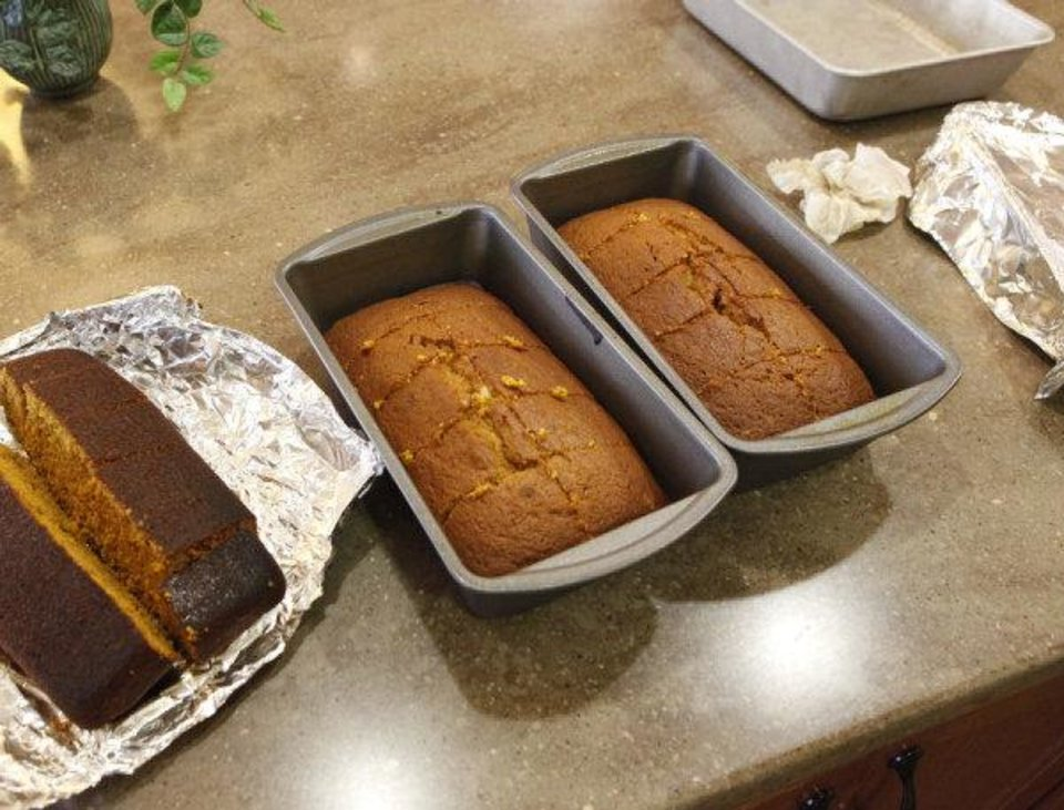 Pumpkin bread loafs created by residents of Touchmark at Coffee Creek's memory care unit. Photo by JIM BECKEL, THE OKLAHOMAN