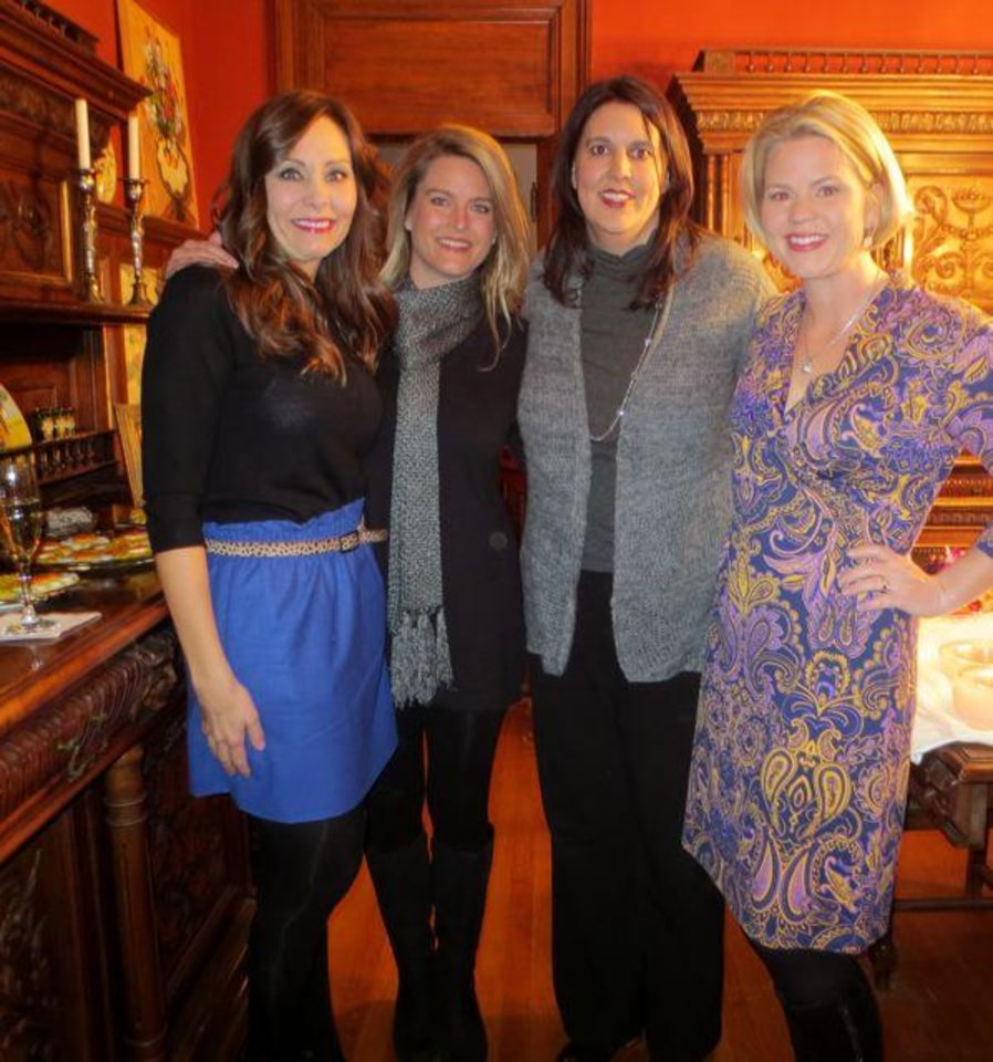 Kim Riley, Jenifer Stehr, Nicole Blad, Amy McDougall were at the party in Cristi Reiger's home. They are part of the incoming Junior League board. (Photo by Helen Ford Wallace).