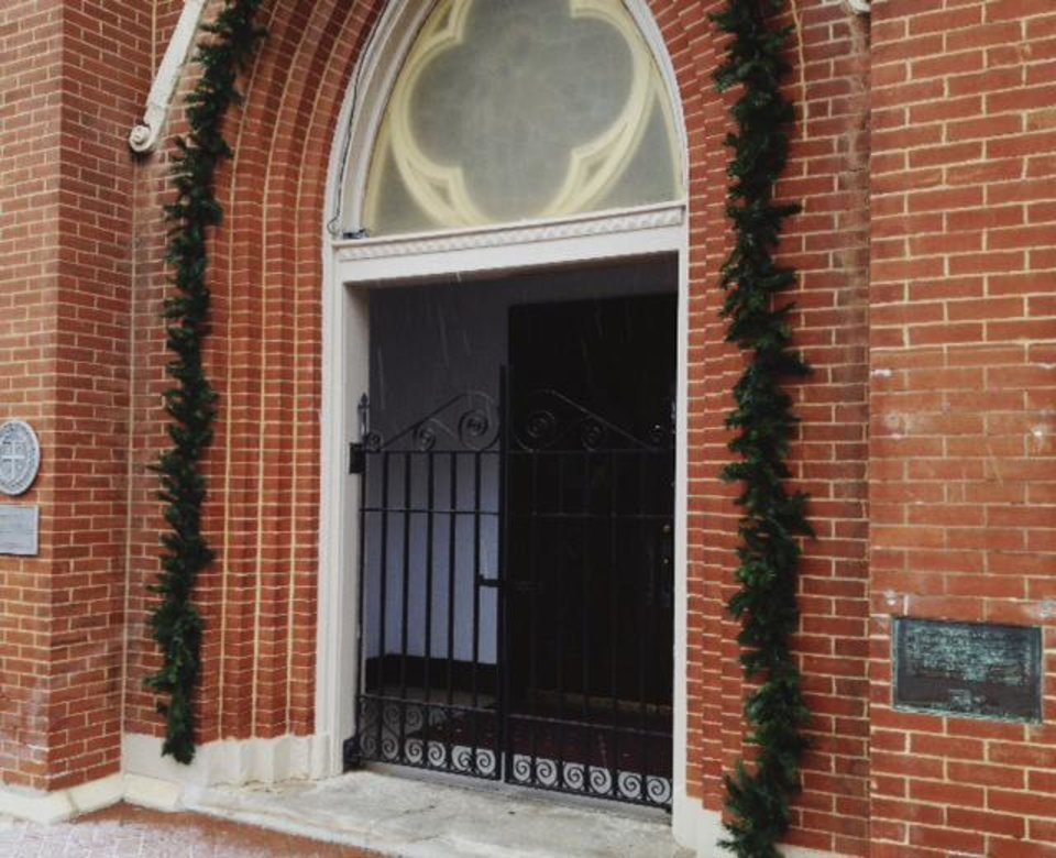 Photo - Locked doors at St . Joseph Old Cathedral in downtown OKC on Christmas morning