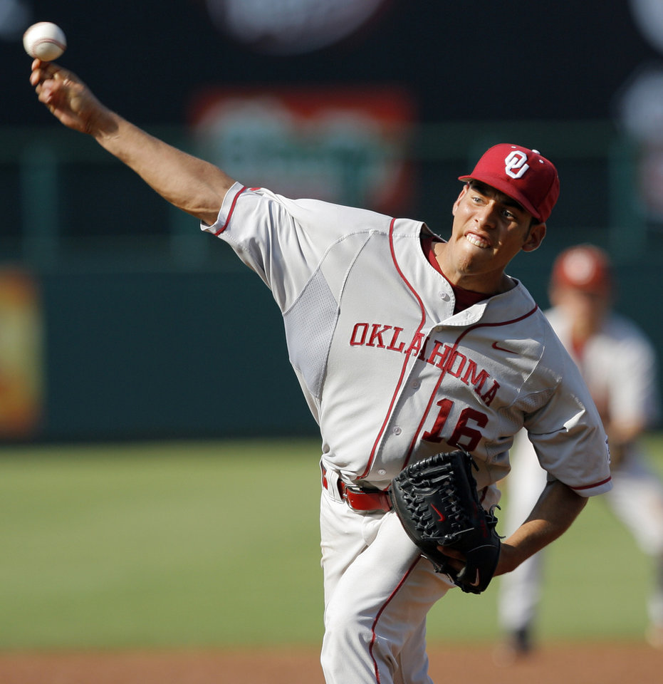 OU's Bobby Shore pitches during the Big 12 baseball championship tournament game between Kansas State and Oklahoma at the Bricktown Ballpark in Oklahoma City, Saturday, May 29, 2010. OU won, 13-2, in eight innings. Photo by Nate Billings, The Oklahoman