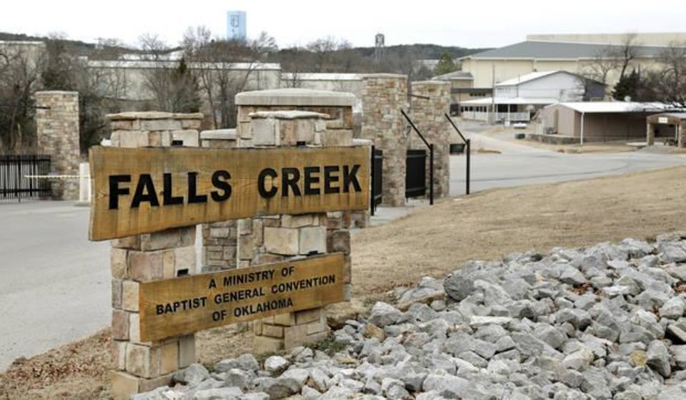 Photo -  The entrance to Falls Creek Baptist Conference Center. [Photo by Jim Beckel, The Oklahoman]