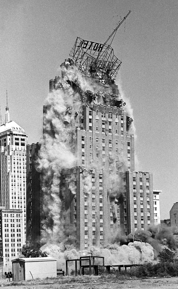 Photo - The 26 story Biltmore Hotel, built in 1932, was demolished on Oct. 16, 1977. At the time it was the tallest steel-reinforced building in the world ever demolished with explosives. Nine hundred explosive charges were used in the building to bring it down. Photo by PAUL B. SOUTHERLAND, the oklahoman archive