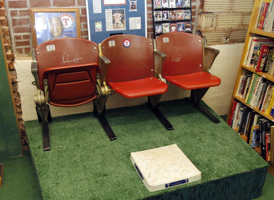 Photo - BASEBALL COLLECTION: These autographed seats are on display at the Oklahoma Sports Hall of Fame in Guthrie, OK, Thursday, April 11, 2013,  By Paul Hellstern, The Oklahoman