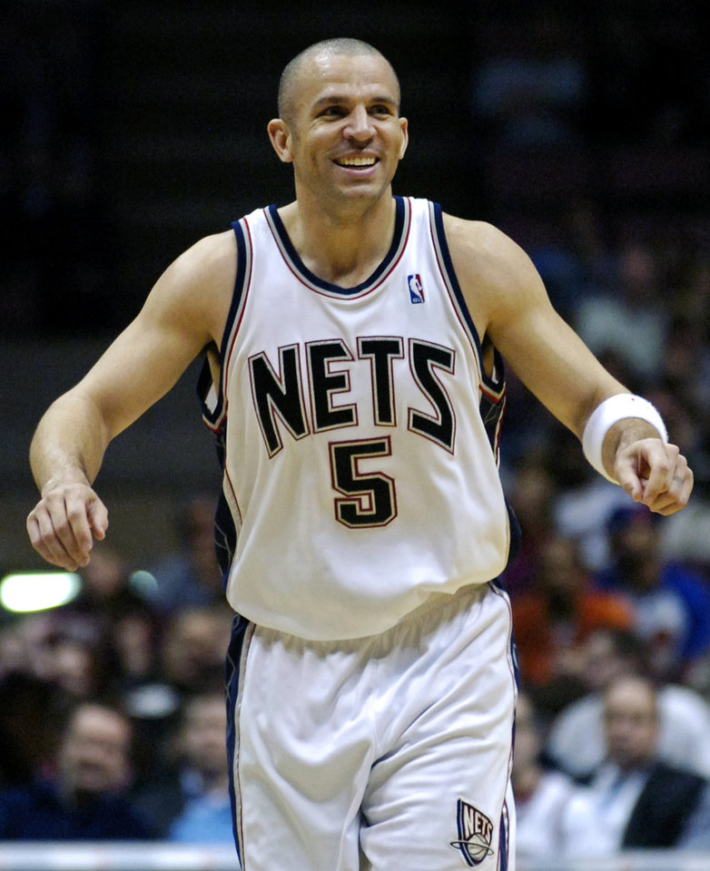Photo - FILE - In this April 13, 2007, file photo, then-New Jersey Nets' Jason Kidd reacts during an NBA basketball game in East Rutherford, N.J.  The Brooklyn Nets hired Jason Kidd as their coach Wednesday, June 12, 2013, bringing the former star back to the franchise he led to its greatest NBA success. (AP Photo/Bill Kostroun, File)