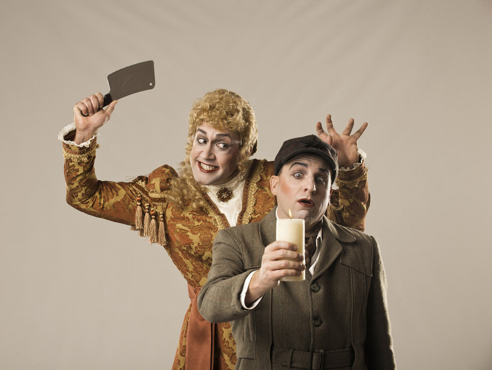 "Lyric at the Plaza continues its fall season with its production of ""The Mystery of Irma Vep."" Charles Ludlam's satirical comedy features Monte Riegel Wheeler, left, as Lady Enid, and Jeffrey Meek as Lord Edgar. PHOTO PROVIDED <strong></strong>"