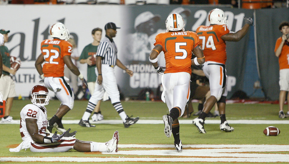 Photo - OU's Keenan Clayton reacts after a Miami touchdown in the third quarter of  the college football game between the University of Oklahoma (OU) Sooners and the University of Miami (UM) Hurricanes at Land Shark Stadium in Miami Gardens, Florida, Saturday, October 3, 2009. Photo by Bryan Terry, The Oklahoman