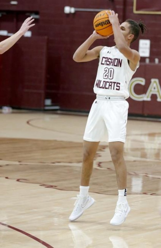 Photo -  Cashion's Vance Raney shoots the ball against Perry on Jan. 21. [Sarah Phipps/The Oklahoman]