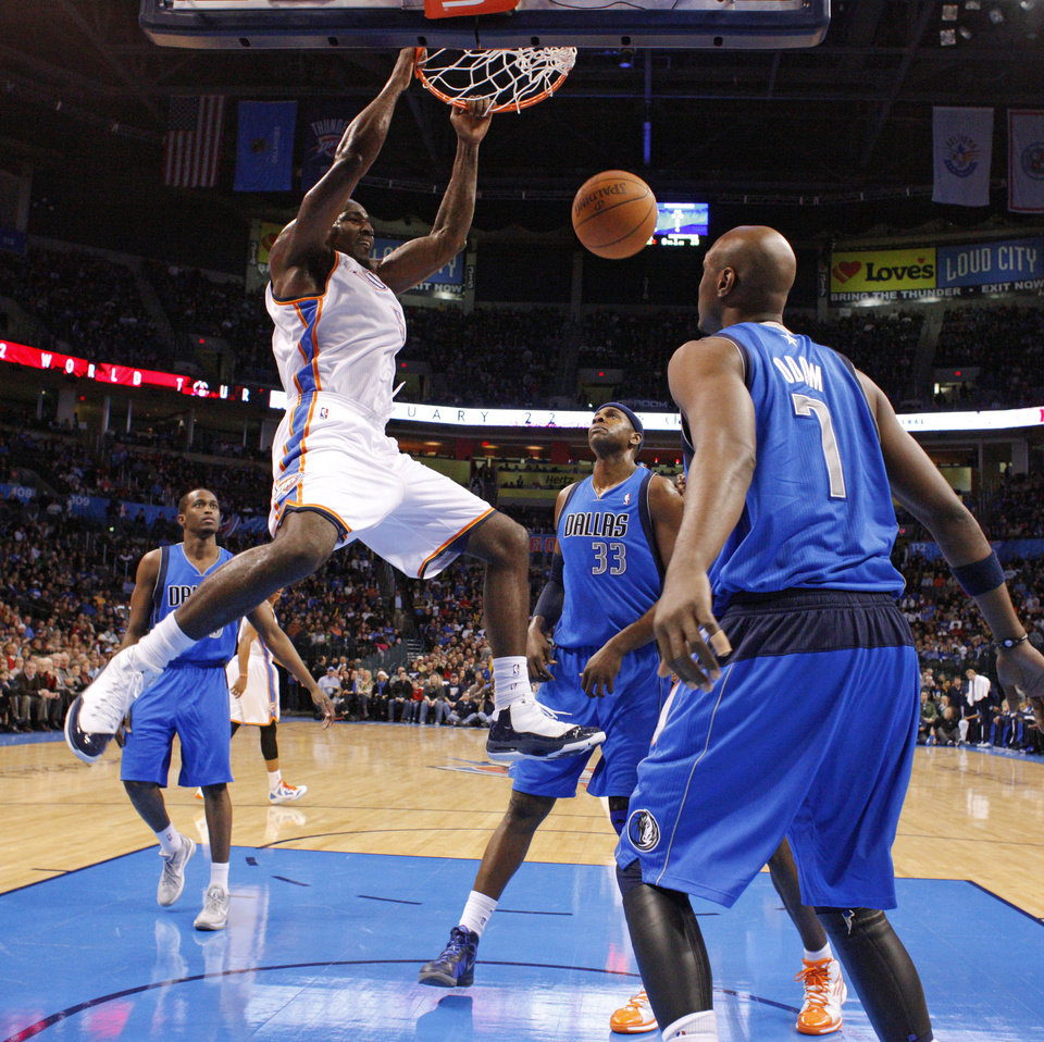 NBA BASKETBALL: Oklahoma City\'s\' Kendrick Perkins (5) dunks the ball in front of Dallas\' Brendan Haywood (33) and Lamar Odom (7) during a preseason NBA game between the Oklahoma City Thunder and the Dallas Mavericks at Chesapeake Energy Arena in Oklahoma City, Tuesday, Dec. 20, 2011. Photo by Bryan Terry, The Oklahoman