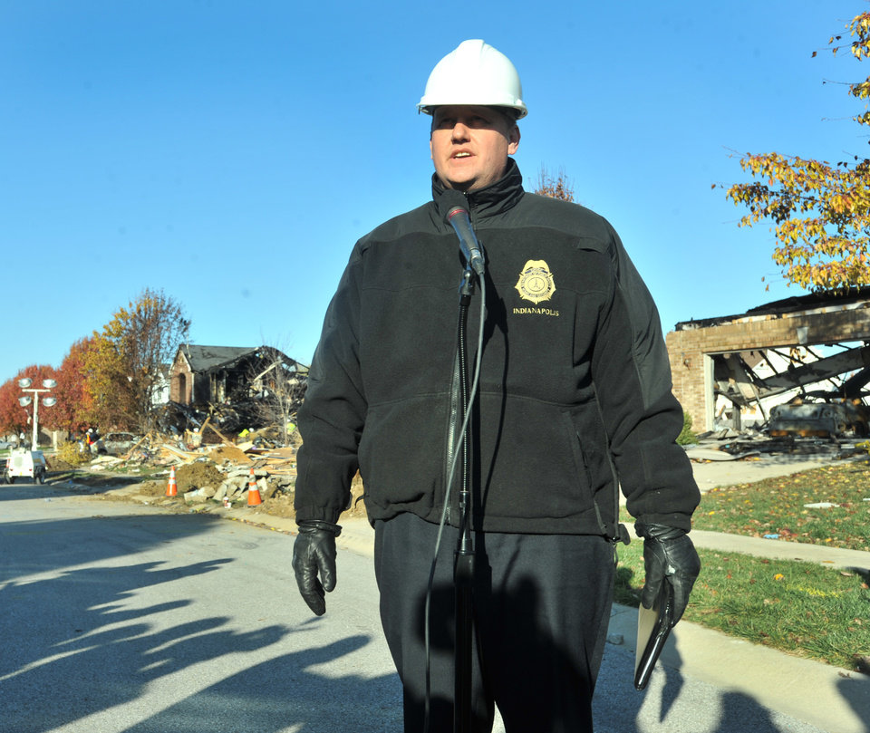 Photo -   Gary Coons, Chief, Division of Homeland Security Indianapolis, speaks at a press conference on Fieldfare Way in the Richmond Hills subdivision Monday, Nov. 12, 2012. An explosion, originating on Fieldfare Way, destroyed or damaged as many as 80 structures in the subdivision late Saturday night November 10, 2012. (AP Photo/The Indianapolis Star, Joe Vitti)