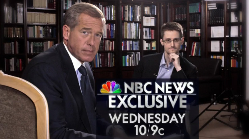 Photo - This image taken from video provided by NBC News on Tuesday, May 27, 2014 shows Edward Snowden, right, a former National Security Agency (NSA) contractor and NBC News anchor Brian Williams during an NBC Exclusive interview. Snowden told Williams that he worked undercover and overseas for the CIA and the NSA. (AP Photo/NBC News)