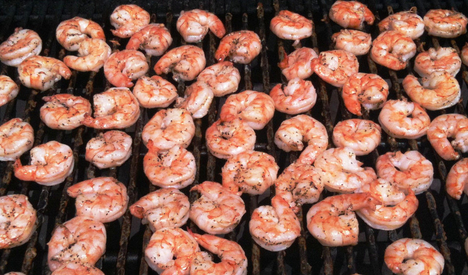 "Top: Grilled shrimp. Photo by Dave Cathey,  The Oklahoman    Bottom: A scene from the movie ""North Dallas Forty.""  Screen capture"