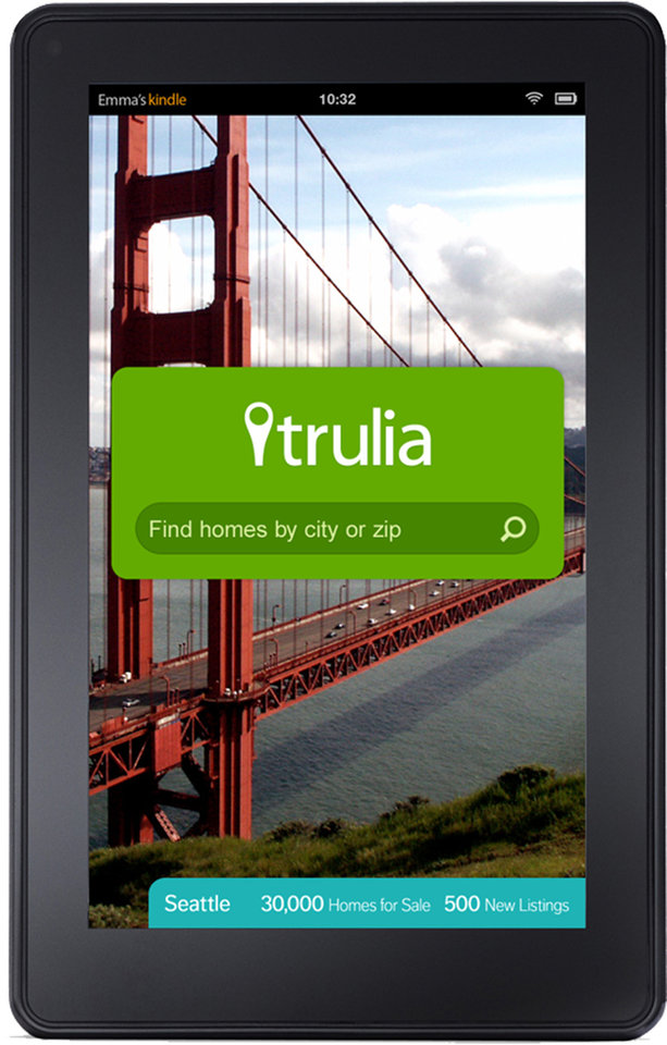 Photo - This image provided by real estate website operator Trulia shows the Trulia Kindle Fire app. Zillow is buying competitor Trulia in a $3.5 billion all-stock deal. Trulia's stock rose more than 14 percent in premarket trading on Monday, July 28, 2014, while Zillow's stock fell more than 3 percent. (AP Photo/Zillow)