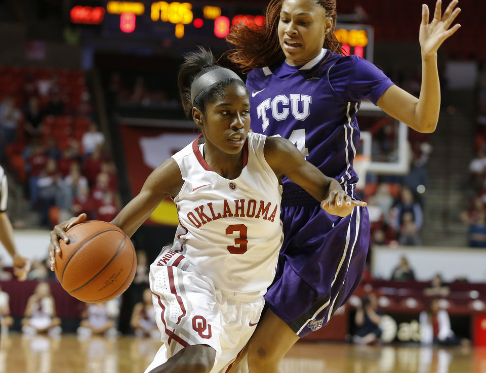 Oklahoma's Aaryn Ellenberg (3) goes past TCU's Natalie Ventress (24) during a women's college basketball game between the University of Oklahoma and TCU at the Llyod Noble Center in Norman, Okla., Wednesday, Jan. 30, 2013. Photo by Bryan Terry, The Oklahoman