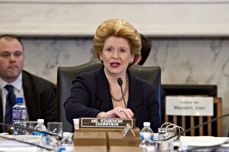 Senate Agriculture Committee Chair Sen. Debbie Stabenow, D-Mich. speaks on Capitol Hill in Washington, Tuesday, May 14, 2013, during the committee's hearing on the Farm Bill, officially known as the Agriculture Reform, Food, and Jobs Act of 2013. This is the third year in a row that farm-state lawmakers have tried to push the bill through; though it passed the Senate, the House declined to take up the bill last year after conservatives in that chamber objected to the bill's cost and insisted on higher cuts to food stamps.  (AP Photo/J. Scott Applewhite)