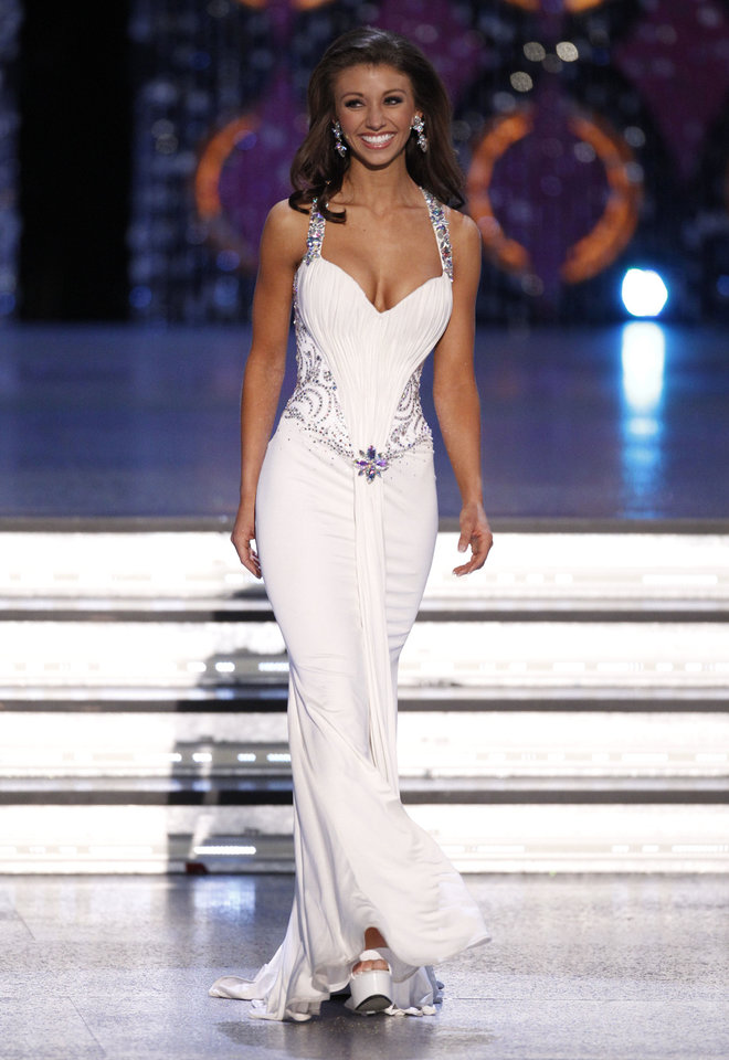 Photo - Miss Oklahoma Betty Thompson  competes Saturday during the 2012 Miss America Pageant at The Planet Hollywood Resort & Casino in Las  Vegas. AP Photo