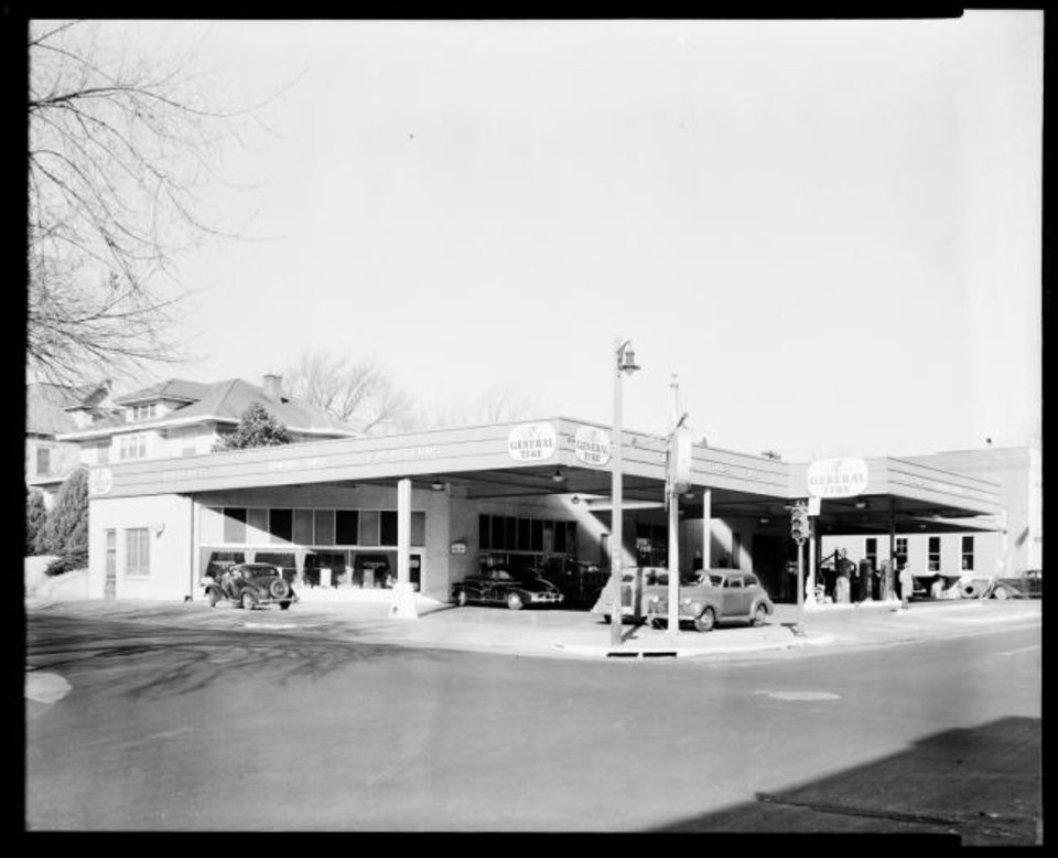 Photo -  The former gas station and garage being converted into a bar and marijuana dispensary are shown in this 1930s photo. [Oklahoma Historical Society]