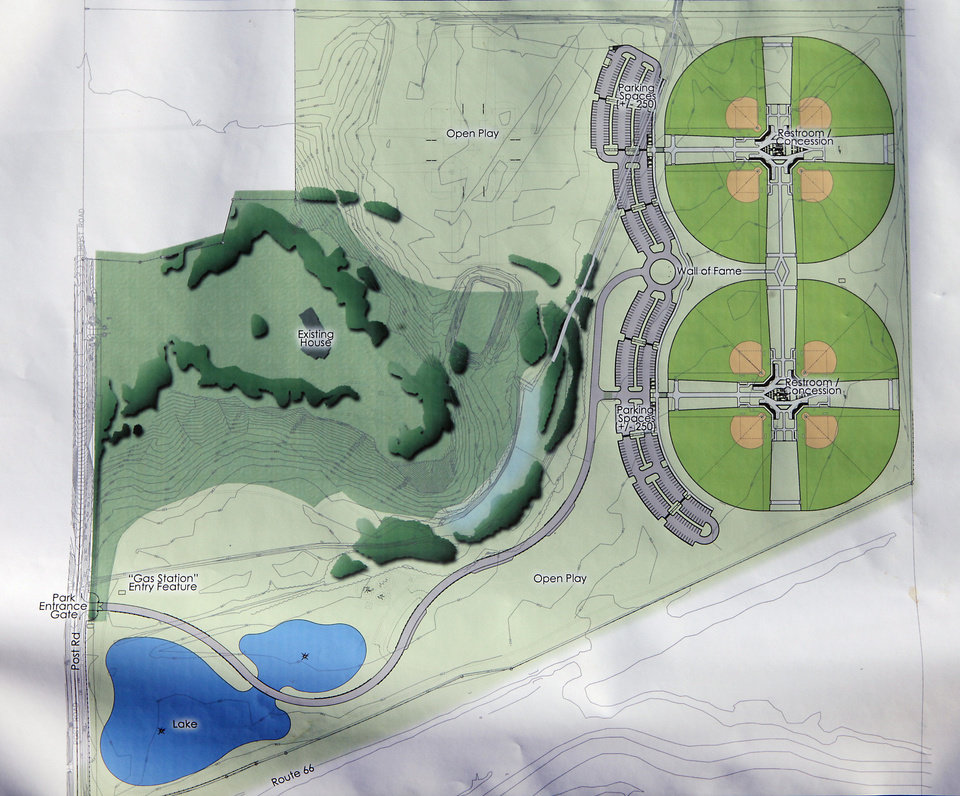 Photo - Artist rendering of plans for Edmond's new four-field softball complex to be built on the northeast corner of Post Road and State Highway 66. PHOTO BY DAVID MCDANIEL, THE OKLAHOMAN.  David McDaniel - The Oklahoman