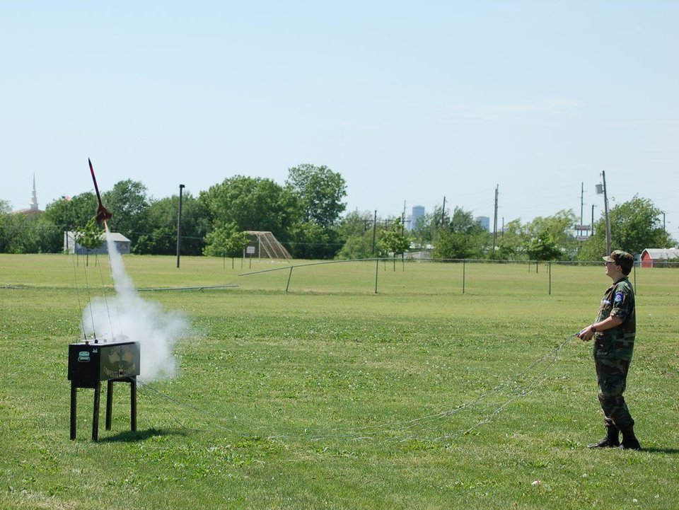 An Oklahoma City cadet watches as his two-stage Zenith rocket flies off the pad.<br/><b>Community Photo By:</b> unknown<br/><b>Submitted By:</b> Jay,
