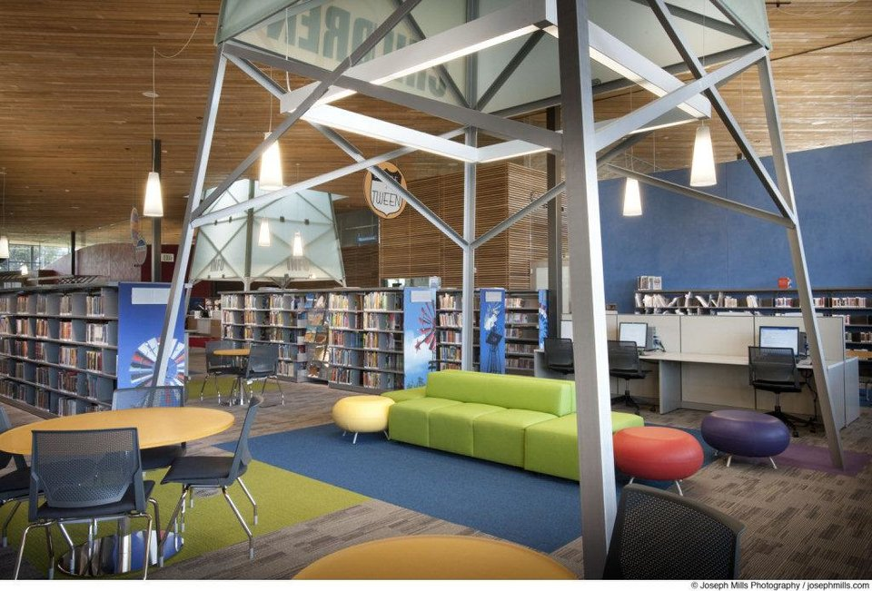 Photo - An oil derrick theme is part of the children's area at Patience S. Latting Northwest Library, 5600 NW 122. LWPB Architecture did the design.   - PROVIDED BY JOSEPH MILLS PHOTOGR