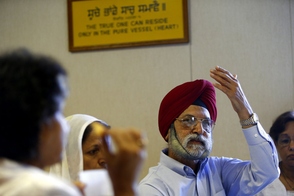 Sarbjit �Sabi� Singh, a retired Oklahoma City engineer, talks about being Sikh in America at a gathering at the Sikh Gurdwara of Oklahoma, 4525 NW 16, where he worships. PHOTOS BY BRYAN TERRY, THE OKLAHOMAN