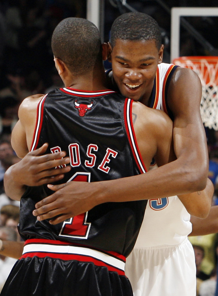 Oklahoma City's Kevin Durant hugs Chicago's Derrick Rose before the NBA basketball game between the Chicago Bulls and the Oklahoma City Thunder at the Ford Center in Oklahoma City, Wednesday, March 18, 2009. PHOTO BY NATE BILLINGS, THE OKLAHOMAN