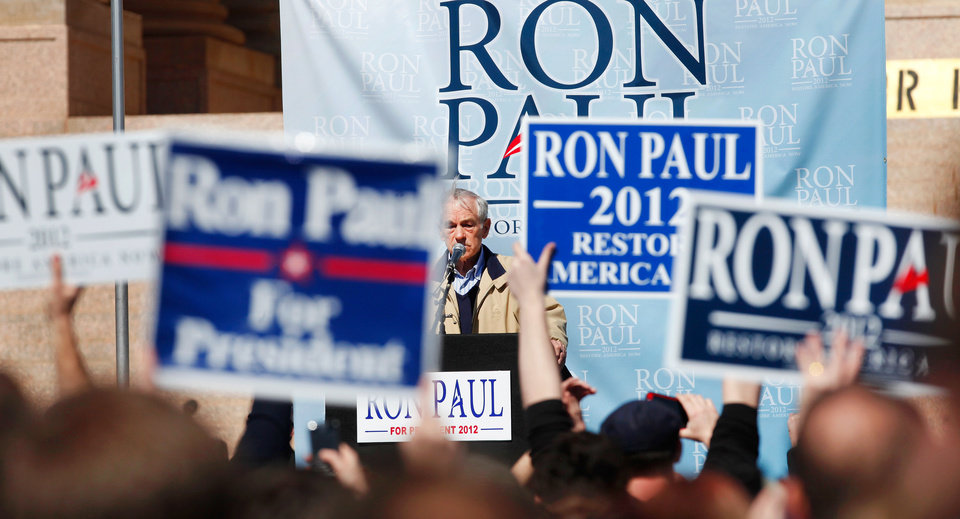 About 1300 enthusiastic supporters rallied on the Capitol's south steps to hear and cheer comments by Republican presidential candidate Ron Paul during a brief visit to Oklahoma City on Saturday, Feb. 25, 2012. Photo by Jim Beckel, The Oklahoman