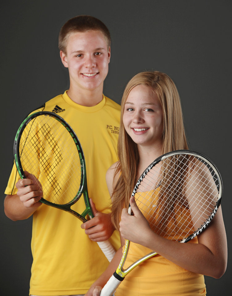 Photo - Chris Haworth and Julie Labarthe   All City tennis players    Photo by Jim Beckel, The Oklahoman ORG XMIT: KOD
