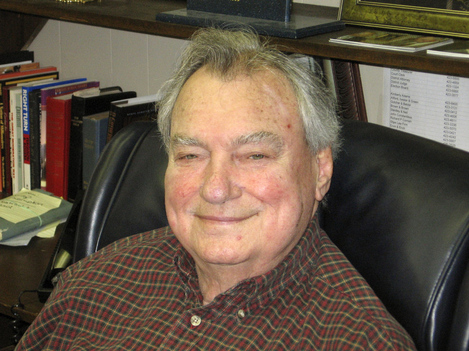 Photo - FORMER STATE SENATOR: Gene Stipe photos taken by Penny Cockerell during her interview with Stipe in his office.