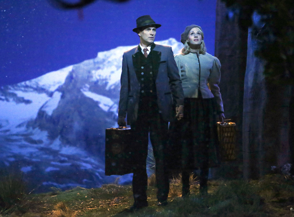 Photo - This photo provided by NBC shows Stephen Moyer, left, as Captain Von Trapp and Carrie Underwood as Maria, in